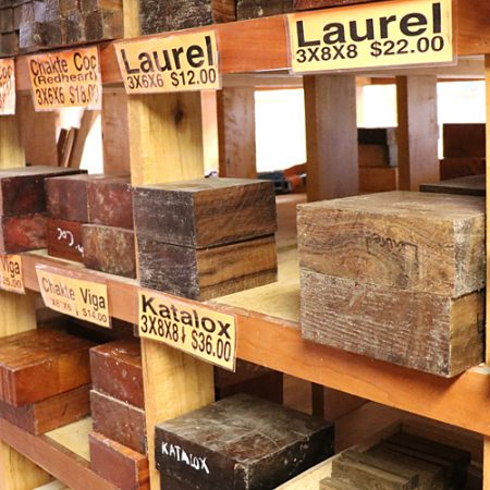 Photo of the shelves of turning blanks for sale at Goosebay Lumber in Chichester, NH