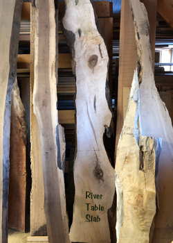 Selection of Live Edge Slabs at Goosebay Lumber in Chichester NH