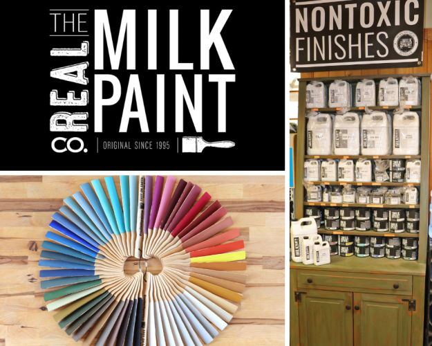 Composite photo of Real Milk Paint Co logo, Goosebay display of Real Milk Paint products, and a photo of colorsticks showing all 56 colors of Real Milk Paint.