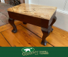 Photo of sapele and maple footstool made by Ted West. photo branded to Goosebay Sawmill and Lumber