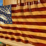 Photo of US flag made of curly maple and padauk wood by Matthew Mitchell