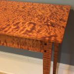 Quilted Maple hall table made by Jeff Shepard of Shepard Woodworks